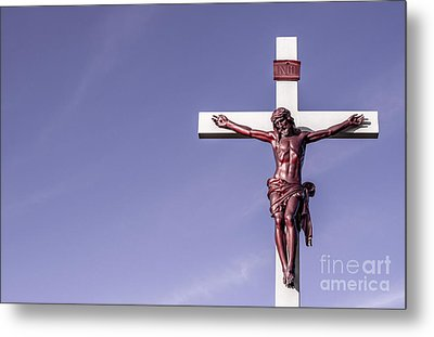 Jesus Crucifix Against The Sky Metal Print