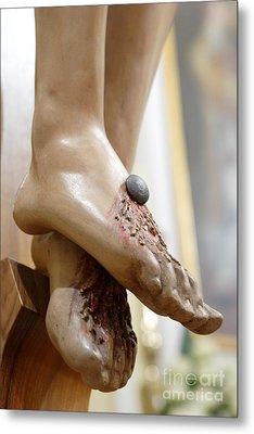 Jesus Feet Metal Print by Michele Flaminio
