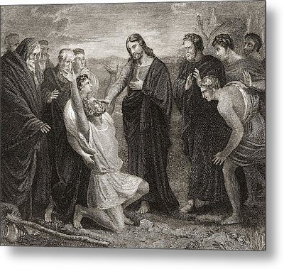 Jesus Healing The Blind. From A 19th Metal Print