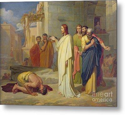 Jesus Healing The Leper Metal Print by Jean Marie Melchior Doze