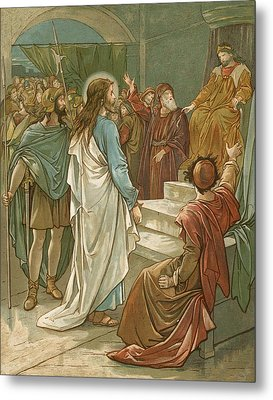 Jesus In Front Of Pilate Metal Print by John Lawson