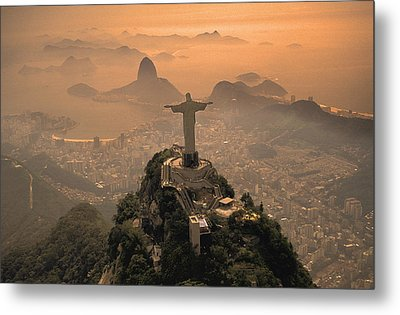 Jesus In Rio Metal Print by Christian Heeb