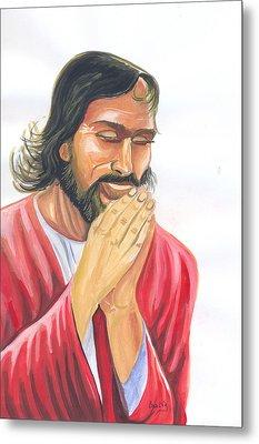 Jesus Praying Metal Print by Emmanuel Baliyanga