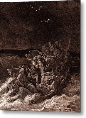 Jesus Stilling The Tempest Metal Print by Gustave Dore