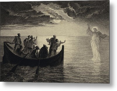 Jesus Walking On The Sea Metal Print by Albert Robida