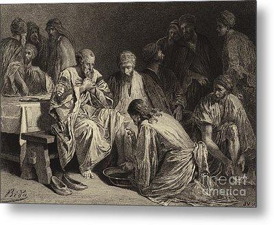 Jesus Washing The Disciples' Feet Metal Print by Albert Robida