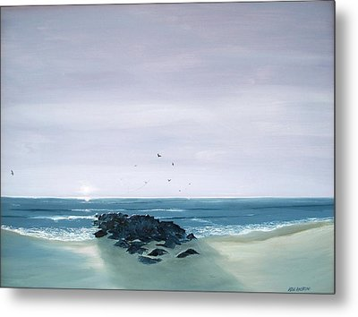 Metal Print featuring the painting Jetty At Dawn by Ken Ahlering