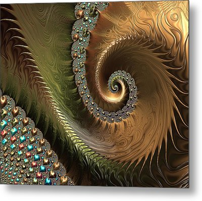 Jewel And Spiral Abstract Metal Print by Marianna Mills
