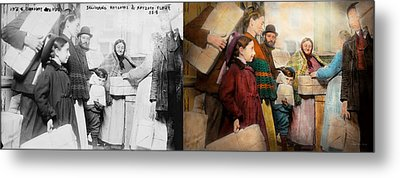 Jewish - Food For The Less Fortunate 1908 - Side By Side Metal Print by Mike Savad