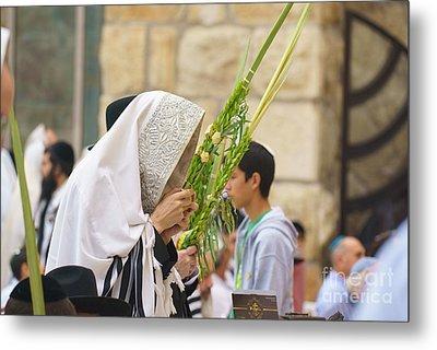 Jewish Sunrise Prayers At The Western Wall, Israel 6 Metal Print