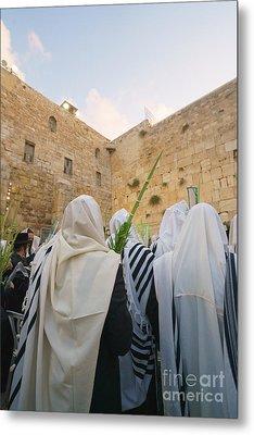 Jewish Sunrise Prayers At The Western Wall, Israel 9 Metal Print