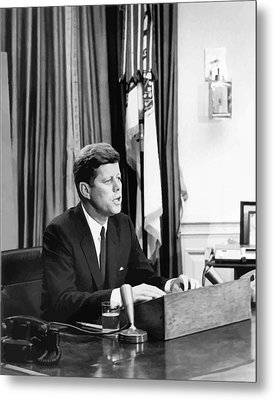 Jfk Addresses The Nation  Metal Print by War Is Hell Store