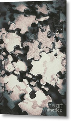Jigsaws Of Double Exposure Metal Print