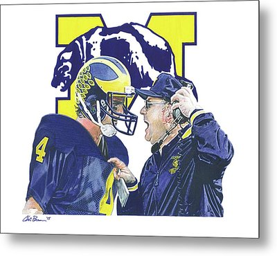 Jim Harbaugh And Bo Schembechler Metal Print