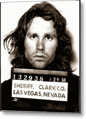 Jim Morrison Mug Shot 1968 Painting Sepia Metal Print by Tony Rubino