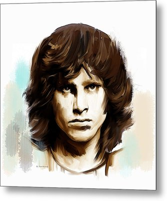 Metal Print featuring the painting Jim Morrison Stolen Dust by Iconic Images Art Gallery David Pucciarelli