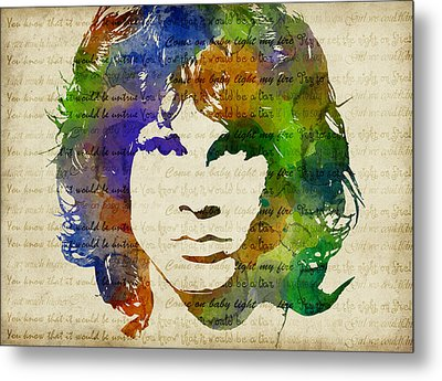 Jim Morrison Watercolor Metal Print
