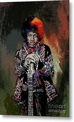 Metal Print featuring the painting Jimi  by Andrzej Szczerski