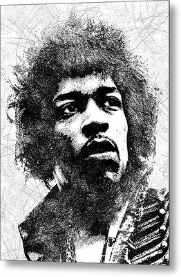 Jimi Hendrix Bw Portrait Metal Print by Mihaela Pater