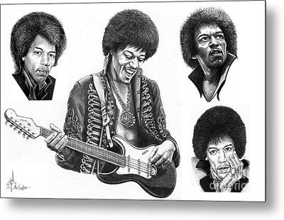 Jimi Hendrix Collage Metal Print by Murphy Elliott