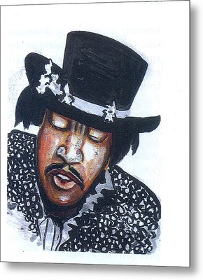 Metal Print featuring the painting Jimi Hendrix by Emmanuel Baliyanga