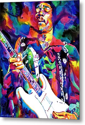 Jimi Hendrix Purple Metal Print by David Lloyd Glover