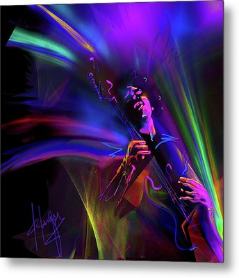 Jimi Hendrix, Purple Haze Metal Print by DC Langer