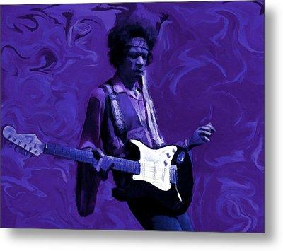 Metal Print featuring the painting Jimi Hendrix Purple Haze P D P by David Dehner