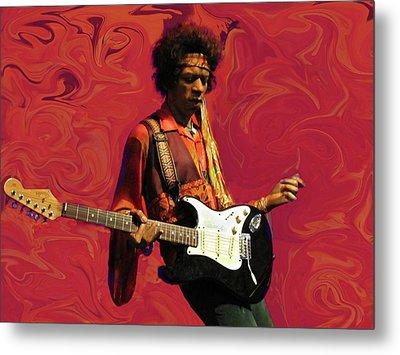 Metal Print featuring the photograph Jimi Hendrix Purple Haze Red by David Dehner