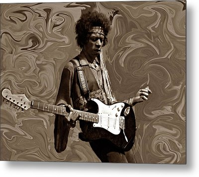 Metal Print featuring the photograph Jimi Hendrix Purple Haze Sepia by David Dehner