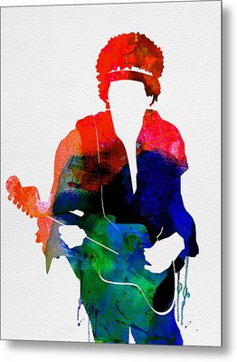 Jimi Watercolor Metal Print by Naxart Studio