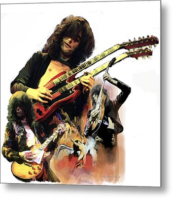 Jimmy Page  Echoes Of Pompeii Metal Print by Iconic Images Art Gallery David Pucciarelli