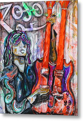 Jimmy Page - Original Art - Gibson Eds-1275 Double Neck, Zoso,  Metal Print by Paco Rocha