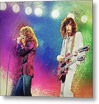 Jimmy Page - Robert Plant Metal Print by Taylan Apukovska