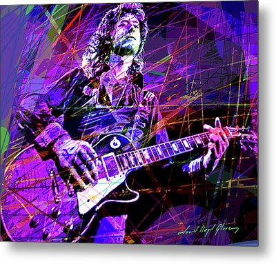 Jimmy Page Solos Metal Print by David Lloyd Glover