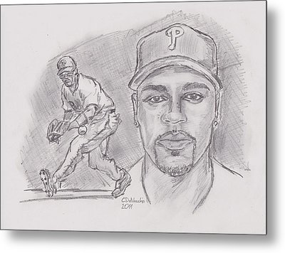 Metal Print featuring the drawing Jimmy Rollins Jroll by Chris  DelVecchio