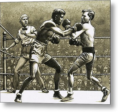 Jimmy Wilde Boxing Pancho Villa In New York Metal Print by Pat Nicolle