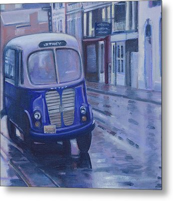 Jitney Ride In The Rain Metal Print by Suzn Smith