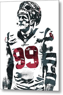 Jj Watt Houston Texans Pixel Art 4 Metal Print by Joe Hamilton