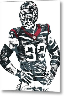 Jj Watt Houston Texans Pixel Art 5 Metal Print by Joe Hamilton