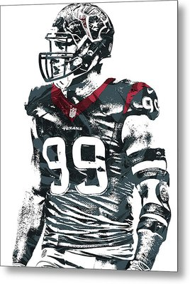 Jj Watt Houston Texans Pixel Art 6 Metal Print by Joe Hamilton