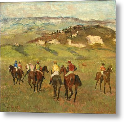 Jockeys On Horseback Before Distant Hills Metal Print by Edgar Degas