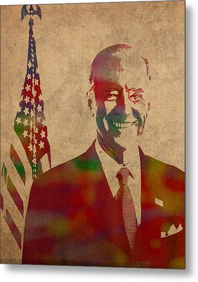 Joe Biden Watercolor Portrait Metal Print by Design Turnpike