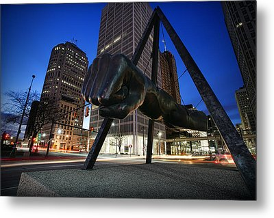 Joe Louis Fist Statue Jefferson And Woodward Ave. Detroit Michigan Metal Print