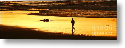 Metal Print featuring the photograph Jog At Sunset by Larry Keahey