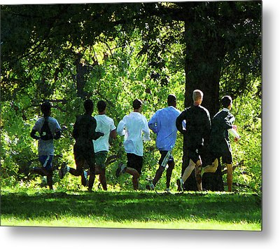 Joggers In The Park Metal Print by Susan Savad