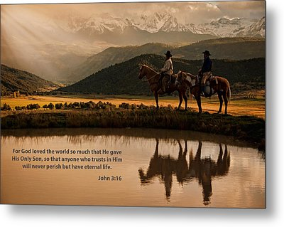 Metal Print featuring the photograph John 3 16 Scripture And Picture by Ken Smith