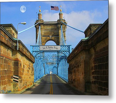 John A. Roebling Suspension Bridge Metal Print by Michael Rucker