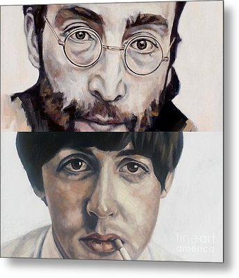 Metal Print featuring the painting John And Paul by Rebecca Glaze