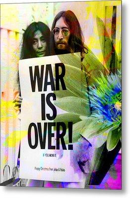 John And Yoko - War Is Over Metal Print by Andrew Osta
